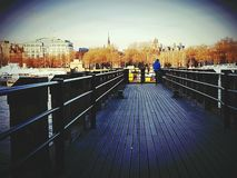 Molo wooden architecture object city centre. London construction water river Thames Stock Photography