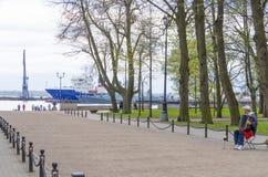 Molo z bakanem w Kronstadt Rosja Obrazy Stock