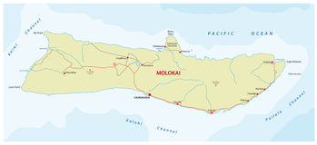 Molokai road map. Road map of the Hawaiian island molokai royalty free illustration