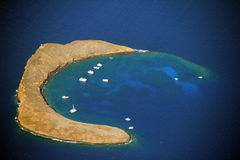 Molokini. Aerial view of Molokini crater in Hawaii - USA Royalty Free Stock Images