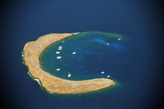Molokini. Aerial view of Molokini crater in Hawaii - USA Stock Photography