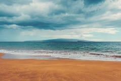 Maui. Molokini and The Island Of Kaho`olawe As Seen From Maluaka Beach On The Island Of Maui Royalty Free Stock Photo