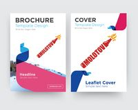 Molotov brochure flyer design template. With abstract photo background, minimalist trend business corporate roll up or annual report Royalty Free Stock Photos