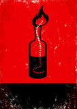 Molotov cocktail. Red and black poster with Molotov cocktail Stock Images