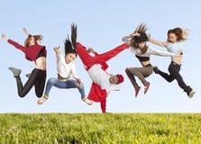 Molta gente di salto di felicità sull'erba immagine stock