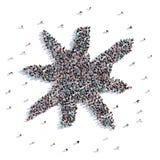 Molta gente forma il fiocco di neve, il natale, disegno del ` s dei bambini rappresentazione 3d illustrazione vettoriale