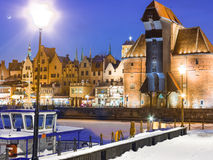 Moltawa river and the crane Gdansk Poland. Winter night scenery Royalty Free Stock Photos