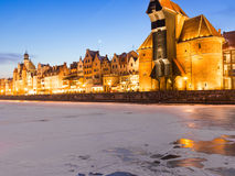 Moltawa river and the crane Gdansk Poland. Winter night scenery Stock Photography