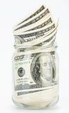 Molte 100 banconote dei dollari US In un vaso di vetro Fotografie Stock
