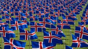 Molte bandiere dell'Islanda nel campo verde illustrazione di stock