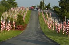Molte bandierine degli Stati Uniti disposte in prato inglese Immagini Stock Libere da Diritti