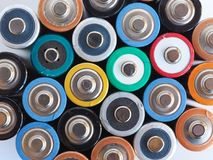 Molte batterie di aa Fotografie Stock