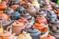 Molte belle teiere in Hong Kong Market Fotografie Stock