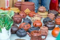 Molte belle teiere in Hong Kong Market Fotografia Stock Libera da Diritti
