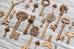 Molte chiavi d'annata differenti su un fondo di legno leggero Immagine Stock Libera da Diritti