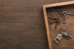 Molte chiavi differenti sul vassoio di legno Fotografia Stock Libera da Diritti