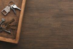 Molte chiavi differenti sul vassoio di legno Fotografia Stock