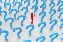 Molte domande ed una risposta illustrazione di stock