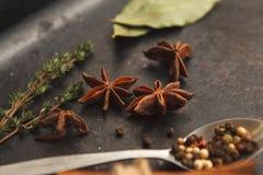 Molte erbe e spezie sulla vecchia tavola nera Fotografia Stock
