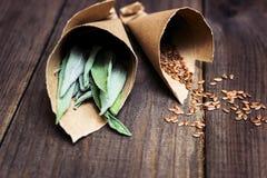 Molte erbe medicinali differenti in cucchiai di legno su un backg bianco Fotografia Stock