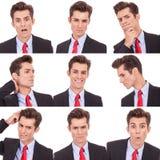 Molte espressioni impressionabili facciali dell'uomo di affari Fotografia Stock