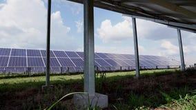 Molte file dei pannelli solari nel campo verde di una centrale elettrica solare Concetto di ecologia di conservazione archivi video