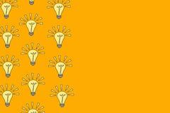 Molte lampadine della luce intensa su un fondo arancio, illustrazione, vettore Immagini Stock
