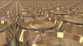 Molte latte di alluminio si muovono senza fine illustrazione di stock
