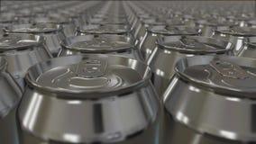 Molte latte di alluminio si muovono senza fine royalty illustrazione gratis