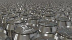 Molte latte di alluminio si muovono senza fine illustrazione vettoriale