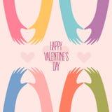Molte mani che fanno un cuore Giorno felice dei biglietti di S illustrazione di stock