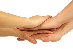 Molte mani che si trovano in cima a vicenda Immagine Stock Libera da Diritti
