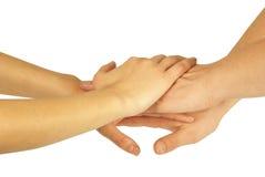 Molte mani che si trovano sulla parte superiore Fotografie Stock Libere da Diritti