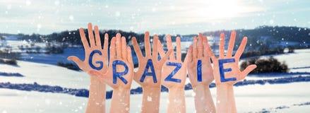 Molte mani che sviluppano i mezzi di Granzie vi ringraziano, il paesaggio dell'inverno come fondo immagini stock