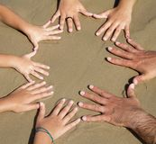 Molte mani insieme Fotografia Stock