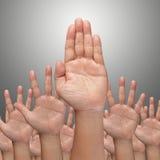 Molte mani si alzano su in su immagine stock libera da diritti