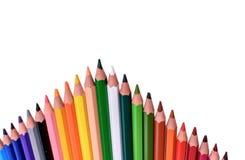 Molte matite colorate isolate su fondo bianco, posto per testo Fotografie Stock