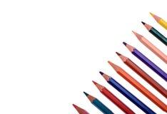 Molte matite colorate isolate su fondo bianco, posto per testo Fotografia Stock Libera da Diritti