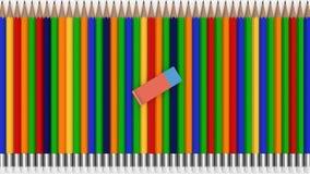 Molte matite con una gomma fotografia stock