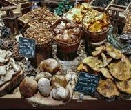 Molte merci nel carrello commestibili differenti dei funghi sul mercato dell'alimento Fotografia Stock Libera da Diritti