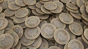 Molte monete di oro di Bitcoin 3d rendono illustrazione vettoriale