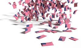 Molte note, pioggia della bandiera e bandiere da U.S.A. che cade alla terra illustrazione di stock