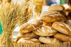 Molte pagnotte fresche rustiche marroni del pane di segale Fotografia Stock Libera da Diritti