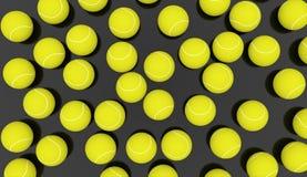 Molte palline da tennis rese Fotografie Stock