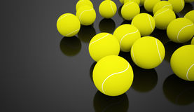 Molte palline da tennis rese sul nero Immagini Stock Libere da Diritti