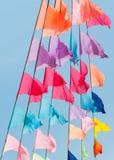 Bandiere variopinte allegre Fotografie Stock Libere da Diritti