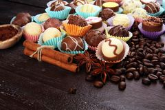 Molte praline del cioccolato di varietà, gourm belga della confetteria fotografia stock