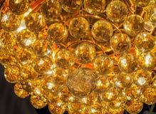 Molte sfere di cristallo dell'oro Fotografie Stock Libere da Diritti