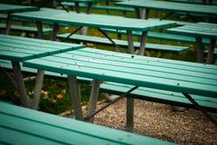 Molte Tabelle di picnic verdi Fotografie Stock Libere da Diritti