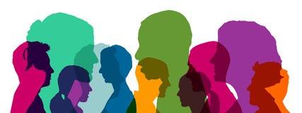 Molte teste in gruppo nei colori luminosi differenti Immagini Stock Libere da Diritti